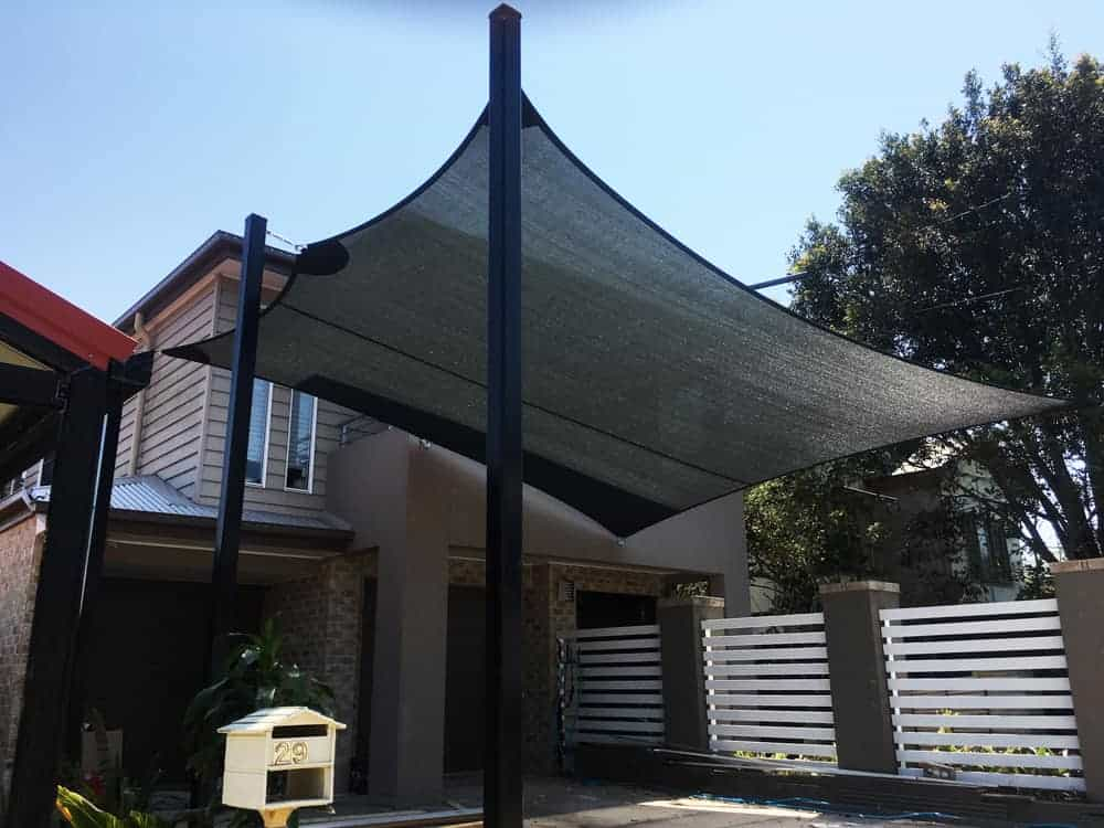 Caravan Protection -1 x 6 point Shade Sail to cover the caravan installed at Woody Point by Superior Shade Sails.