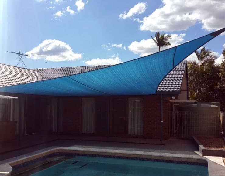 Sun shade for the pool, Brisbane installed by Superior Shade Sails.