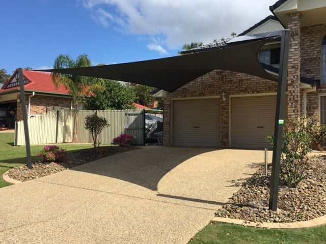5 point double carport shade installed at Parkinson, Brisbane by Superior Shade Sails.
