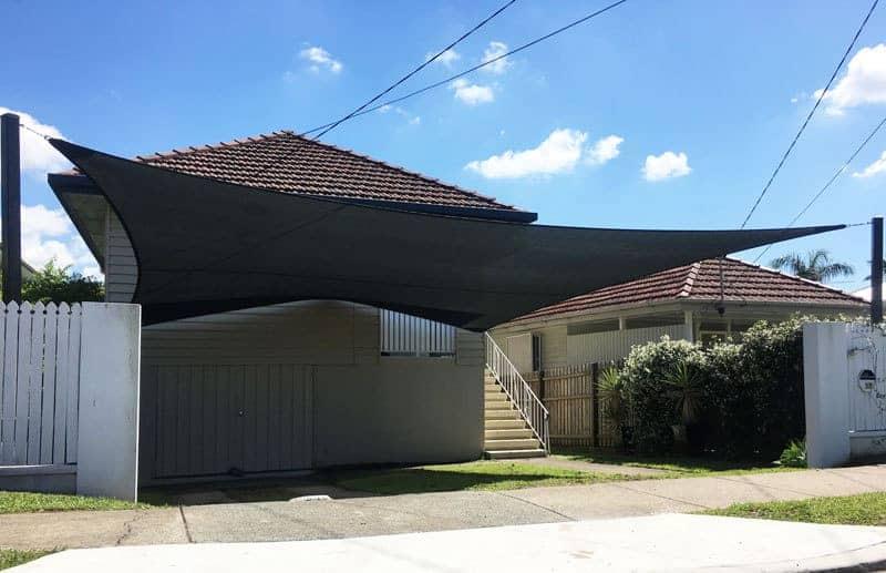 Brisbane Carport Shade Sail using Black Abshade material installed in  Kedron.