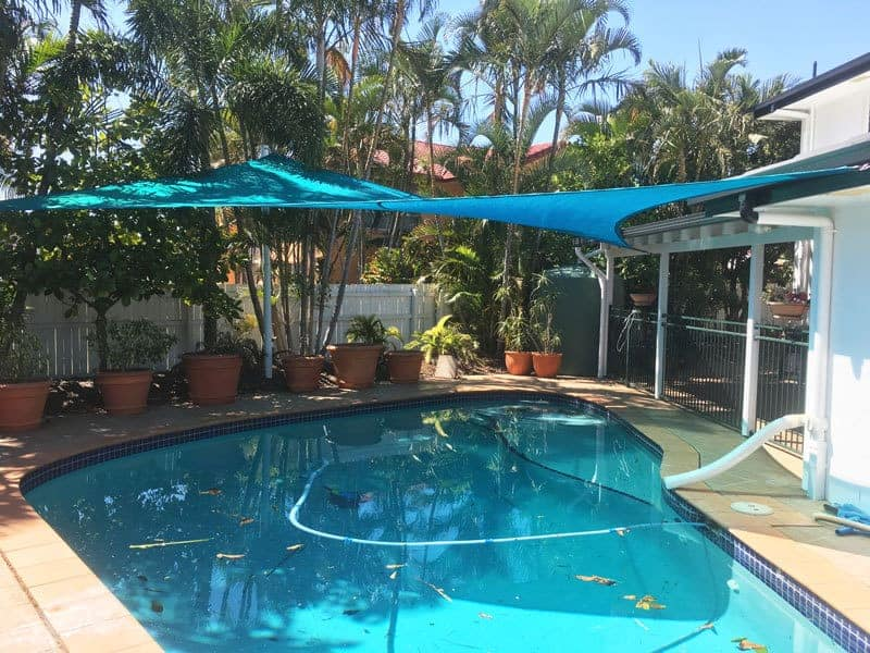 Brisbane Shade Sail Replacement. 4 point sail in Calamvale Aquamarine using Z-16 Fabric.
