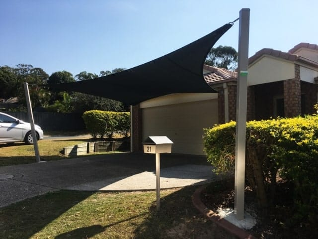 1 x 5 point Shade Sail for the Driveway installed at Forest Lake, Brisbane -