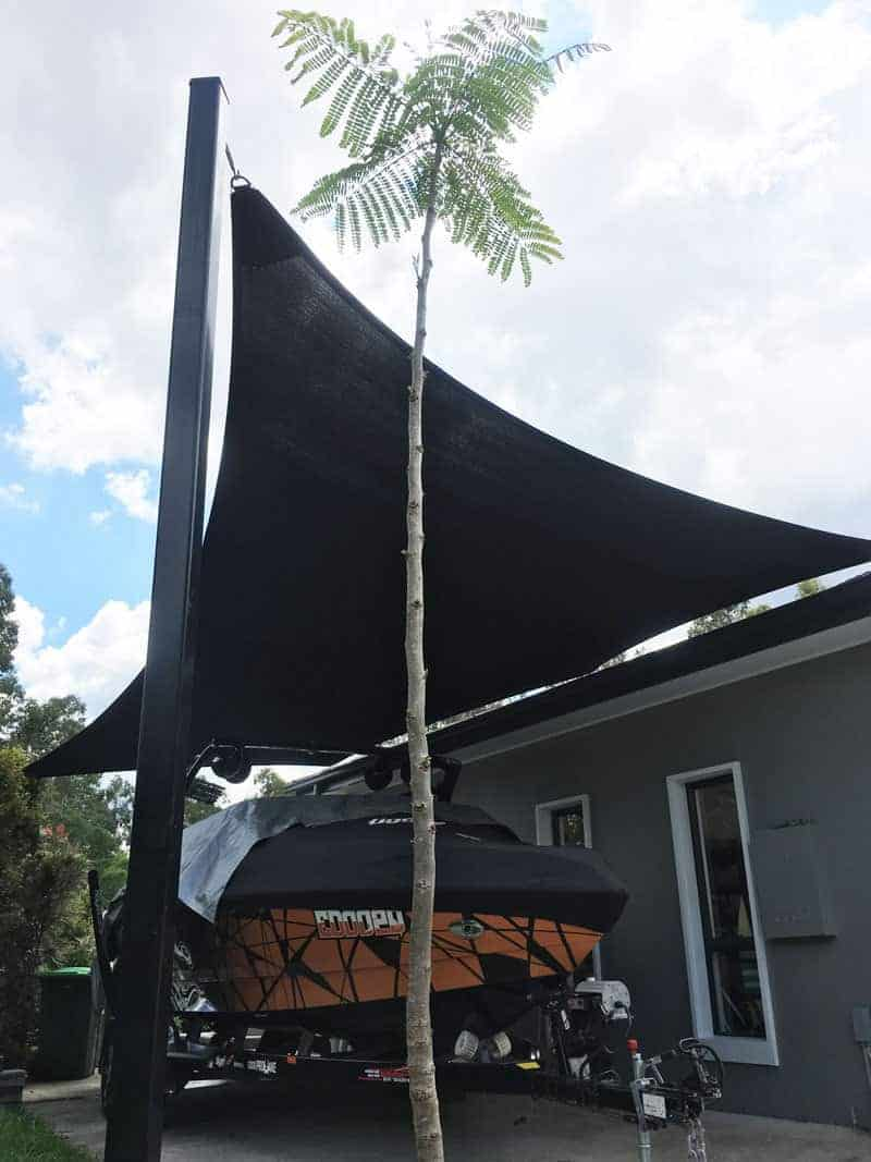 Fig Tree pocket – Brisbane shade sail – Side of house to protect boat in Extra Block Black