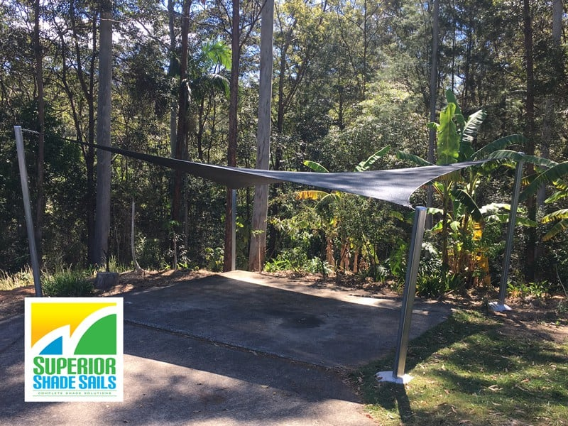 Tallebudgera Valley - Gold Coast - Secluded lifestyle. 1 x 4 point hypar shade sail - Rainbow Shade Charcoal
