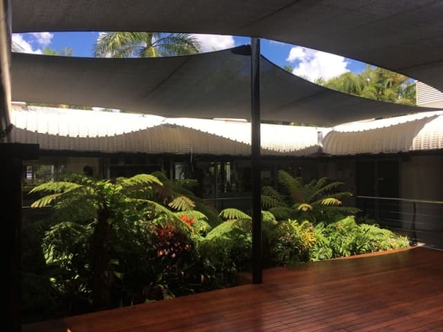 Queensland Government project - Installation of shade sails for Ipswich deck and tropical plant retreat.