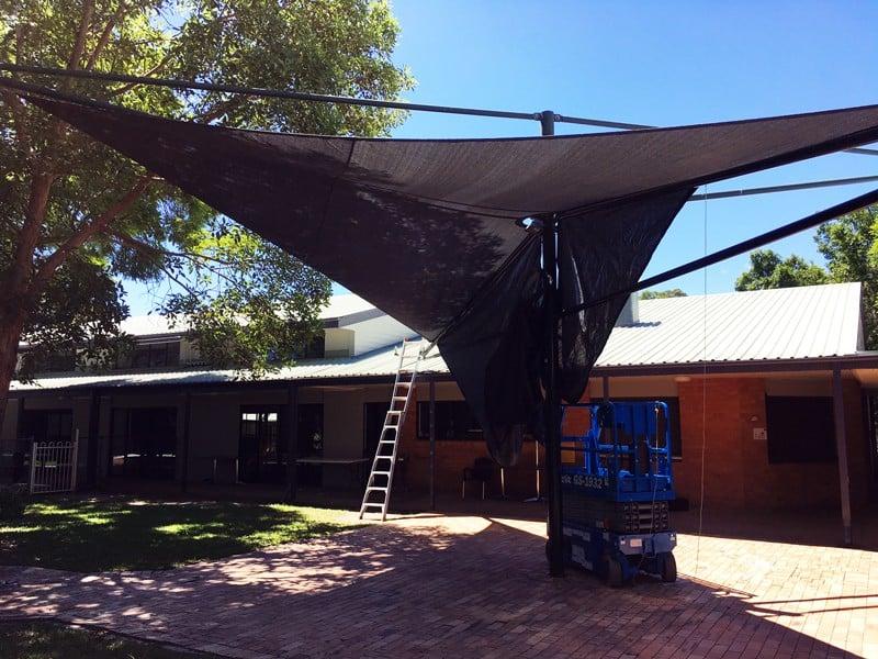 Brisbane shade sail - Ashgrove Church - in Abshade Charcoal/slate grey.