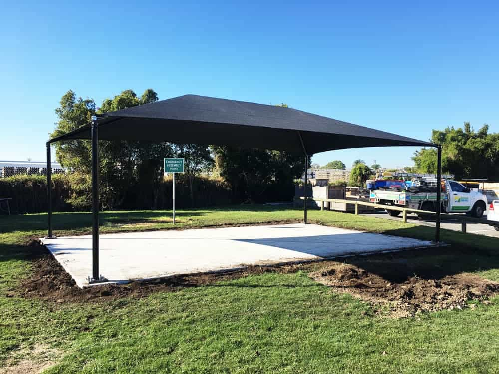 Commercial shade sail for Outdoor Lunch Area in hop and ridge structure for the their outdoor lunch area installed by Superior Shade Sails in Eagle Farm