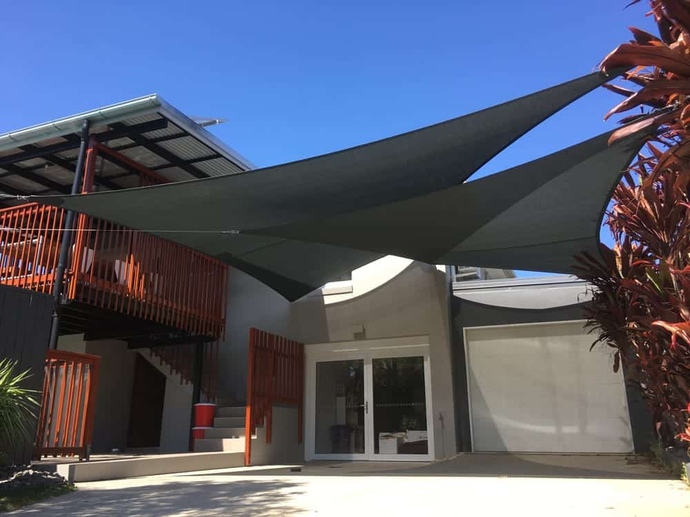 Chermside-Carport Shade Sails - overlapping double sails in Charcoal.