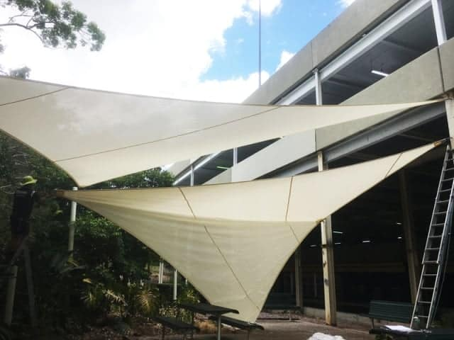 Work in progress - installation of replacement shade sails at Sunnybank Hills Shopping Centre