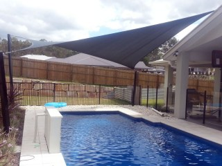 Swimming Pool Shade Sail, Brisbane installed by Superior Shade Sails.