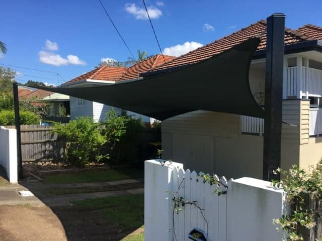 Brisbane Carport Shade Sail using Black Abshade material installed in  Kedron.