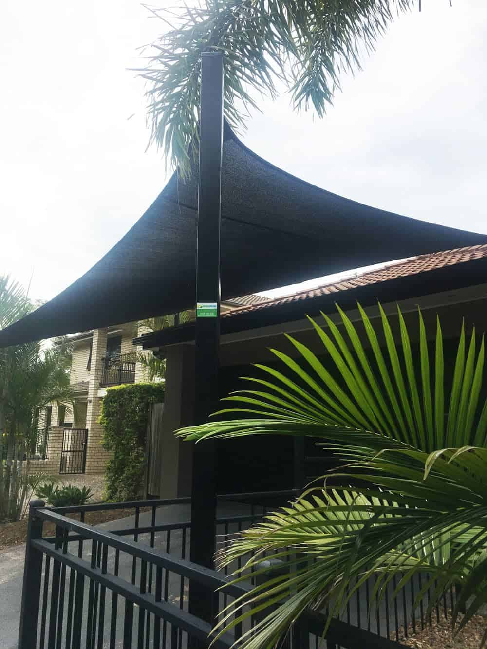 Brisbane-Shade Sails-Parkinson-Superior Shade Sails installed 1 x 5 point shade in Abshade, black material. 2 x galvanised steel posts powder-coated black.