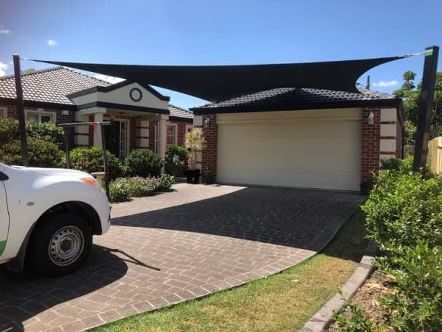 CARPORT SHADE SAIL- We supplied and installed a 5 point carport shade sail using the Z-16 shade sail fabric at Albany Creek in Brisbane.
