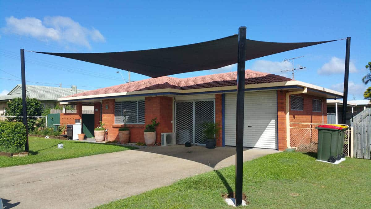 Driveway shade sails to protect car and keep the front of the house cool - Brisbane