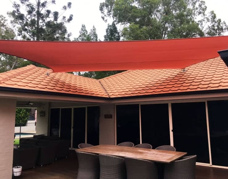 Shade Sails Brisbane Fig Tree Pocket – deck sail in terracotta Z-16 installed by Superior Shade Sails