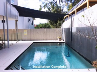 Shade sail for Pool installed by Superior Shade Sails.