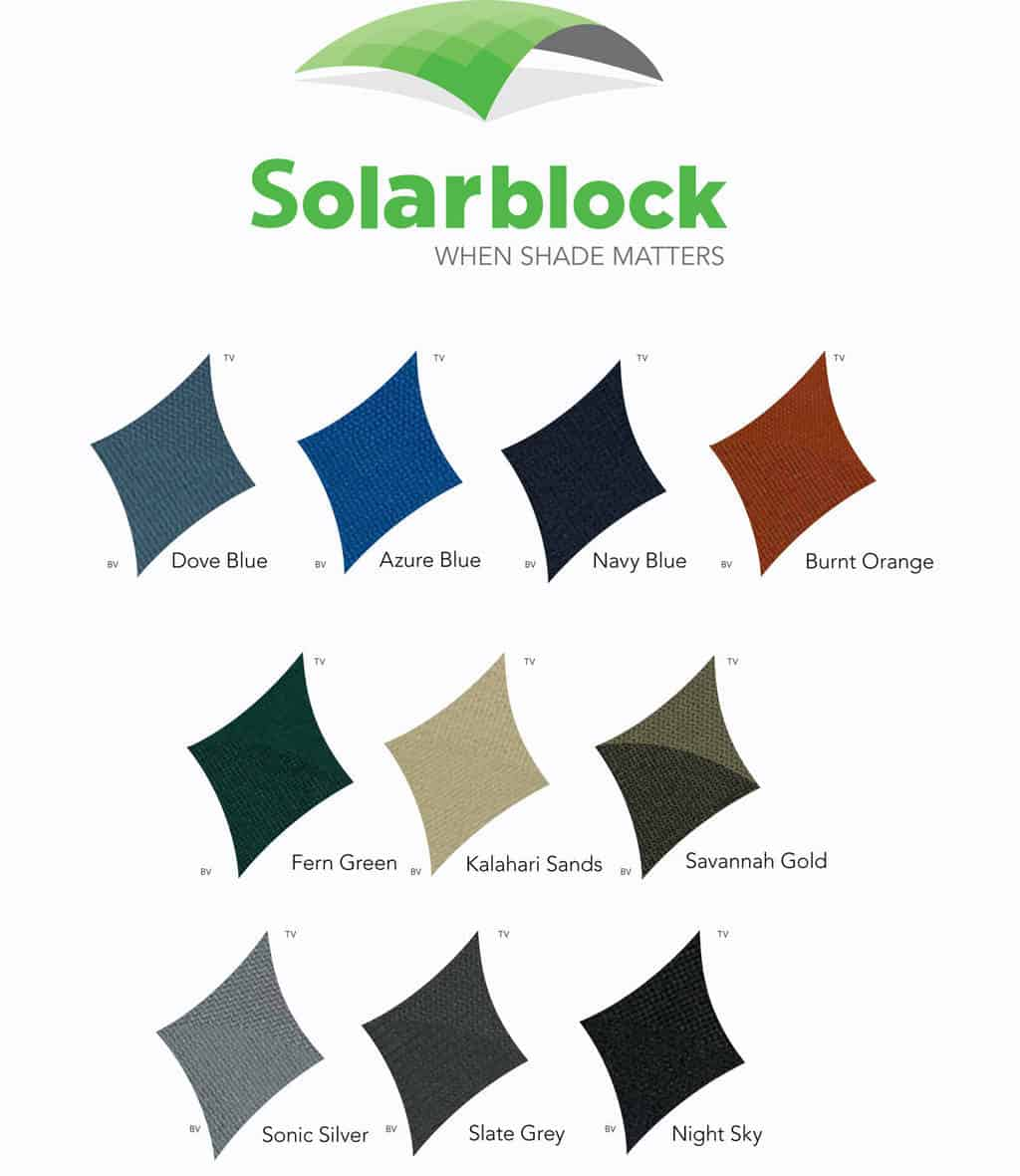 Solarblock Shade Sail Colours