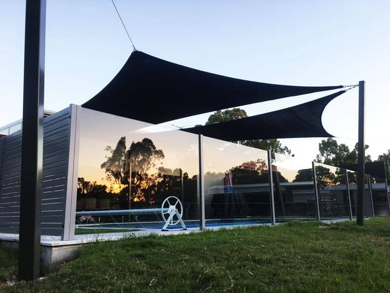 Twin sail off sail track for the swimming pool in Burpengary installed by Superior Shade Sails.