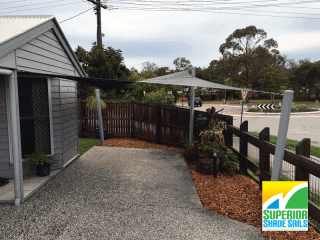 Bayside Wellington point custom shade sail single carport with a twist