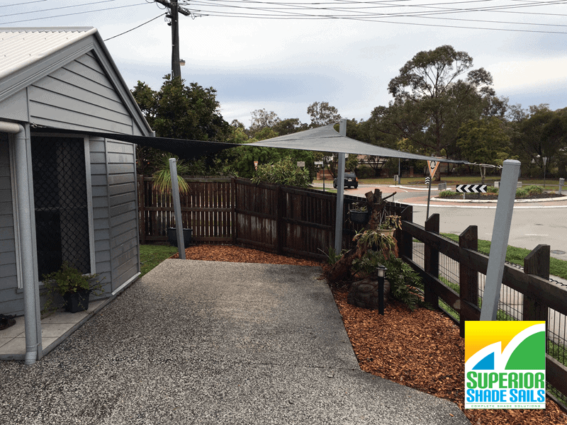 Bayside Wellington point custom shade sail single carport with a twist