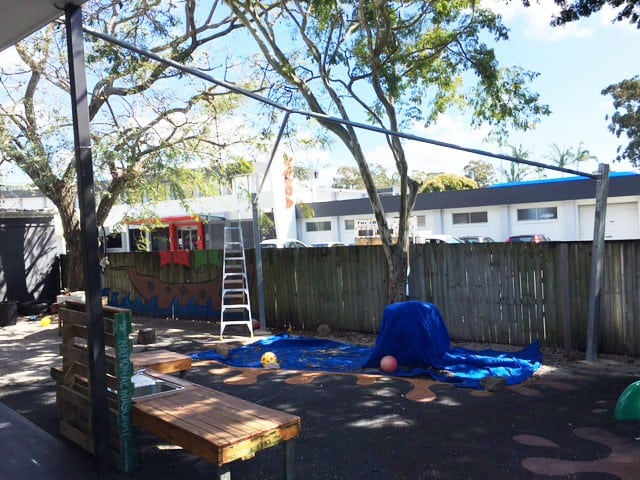 Victoria-Point-Child-Care-Centre Shade Sail Installation