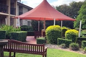 8 Point Shade Sail in Protex Parasol for the Tri-Care Aged Care complex at Upper Mount Gravatt