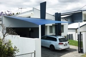 Brisbane-Shade Sail-Hendra In Z-16 material for carport attached with a sailtrack.