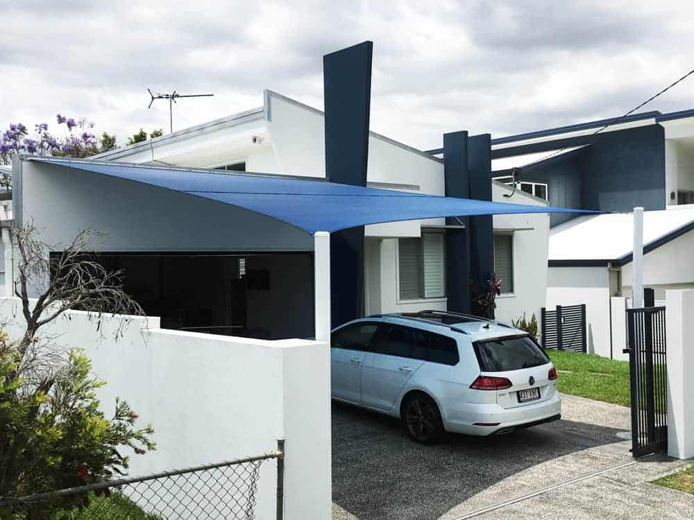Brisbane-Shade-Sail-Hendra In Z-16 material for carport attached with a sailtrack.