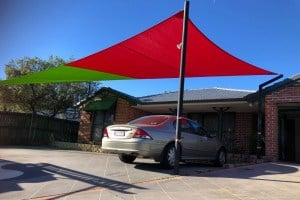 Driveway Shade Sail in Zesty Lime/Red combo using Extreme 32 material