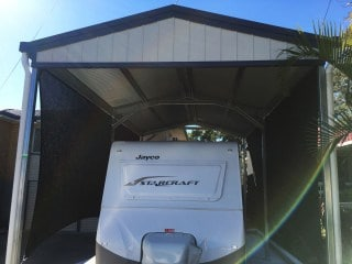 Carport sun shade sail to protect caravan - Goodna installed by Superior Shade Sails