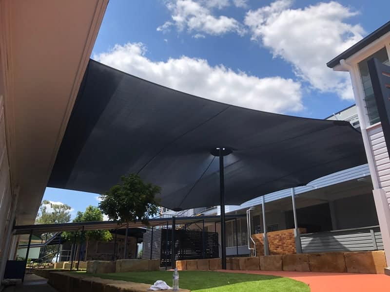 New 17 Point Shade sail for Qld Government School in Ipswich using Monotec 370 in Graphite material on a centre post.