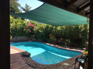 Pool Shade Sail,Brisbane,Hamilton in z16 with marine grade thread.