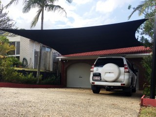 Driveway Shade Sails - Protect vehicles from Sun, Storms and Hail installed by Superior Shade Sails.