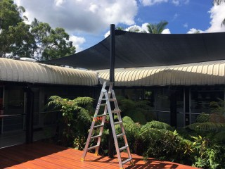 Queensland Government project - Ipswich - Installation of shade sails for deck and tropical plant retreat.