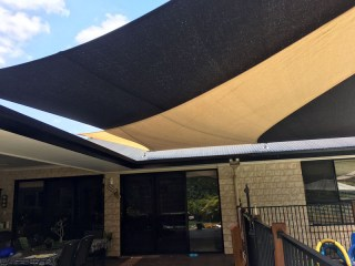 Twin overlapping pool shade sails-New Beith, Logan, Brisbane installed by Superior Shade Sails