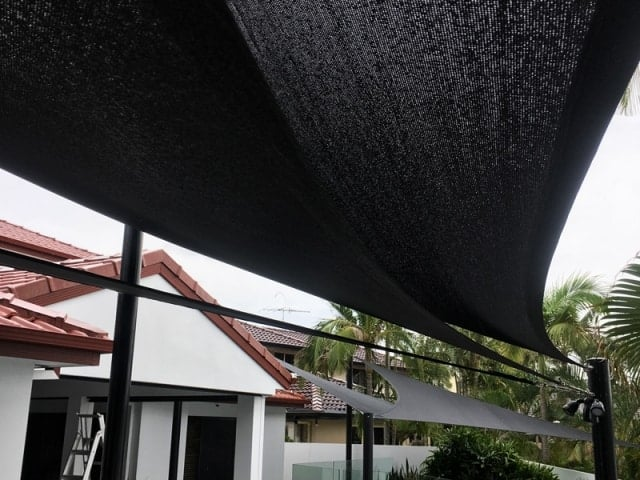 Bayside shade sail - Raby Bay - triple treat on the deck overlooking the canal.