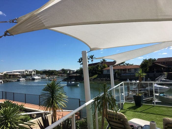 Shade Sails - Newport, Brisbane - Canal lifestyle sails in Rainbow Shade - Ice white Z-16 fabric.