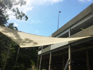 Replacement shade sails installed at Sunnybank Hills Shopping Centre by Superior Shade Sails.