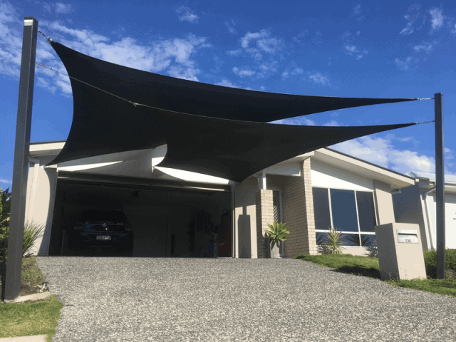 Overlapping Driveway Shade Shade Sails in Wakerley, Brisbane installed by Superior Shade Sails.