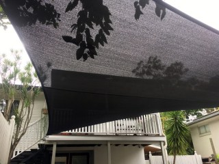 Superior Shade Sails = Another carport shade sail installation by Superior Shade Sails at Oxley using Charcoal Z-16.