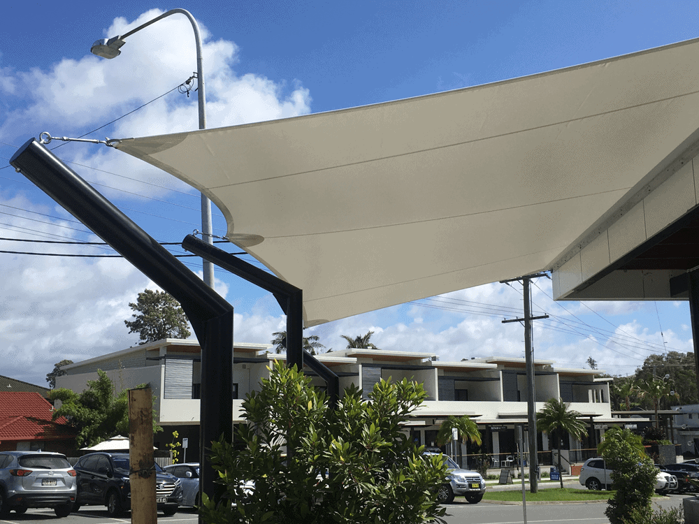 Commercial Grade Mehler 5 point Café Sail with a fully welded sail cranked round profiled posts with 316 marine grade stainless steel fittings  attaching the sail to the sail-track