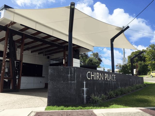Chirn Place Southport, Gold Coast - Just in time for the Commonwealth Games we installed a Commercial Grade Mehler 5 point Café Sail with a fully welded sail cranked round profiled posts with 316 marine grade stainless steel fittings  attaching the sail to the sail-track