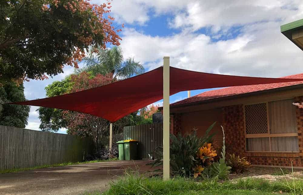 Replacement 5 point Carport shade sail in Marsden, Brisbane in the new Rainbow shade Z-16 colour of Red Earth installed by Superior Shade Sails
