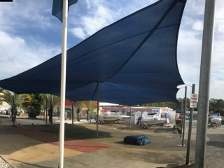 Shade Sail Replacement-Australian Marine Center, Slacks Creek, Brisbane. 1 x 18point shade sail in Extreme 32, Size 73edge meters - Approximately 300 square meters of fabric and crane lifted with full boom extension.
