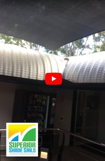 Qld Government Project -Installation at Ipswich of shade sails for deck and tropical plant retreat..