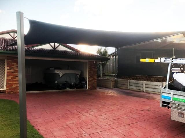 Drewvale, Brisbane South. Superior Shade Sails installed a shade sail that incorporates a privacy screen to provide additional protection from the elements.