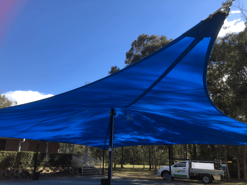 Replacement shade sail at the the Hungarian club in Marsden. (Brisbane South) with a 1 x 16 point shade sail for functions/meetings in Protex Parasol with Tenara marine grade thread and 4 x wire pockets providing structural power to the sail. Looking for replacement or new shade sail, call now for a FREE QUOTE on 0429 220 298. To view more of work visit our website