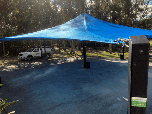 Replacement 4 Point shade sail at the the Hungarian club in Marsden Brisbane
