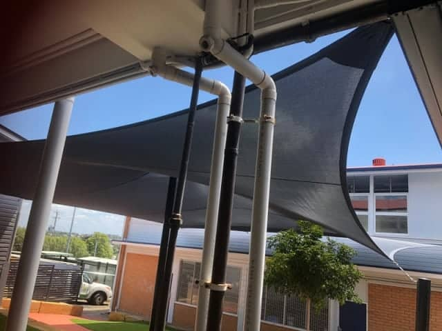 Shade Sail for Ipswich Qld Government School using  Monotec 370 in Graphite material on a centre post. installed by Superior Shades.