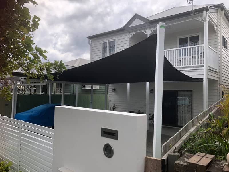 Shade Sail for the Carport of this beautiful home in Paddington, Brisbane using a Sail Track and Z-16 Material in the colour of Charcoal.